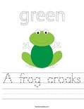 A frog croaks Worksheet