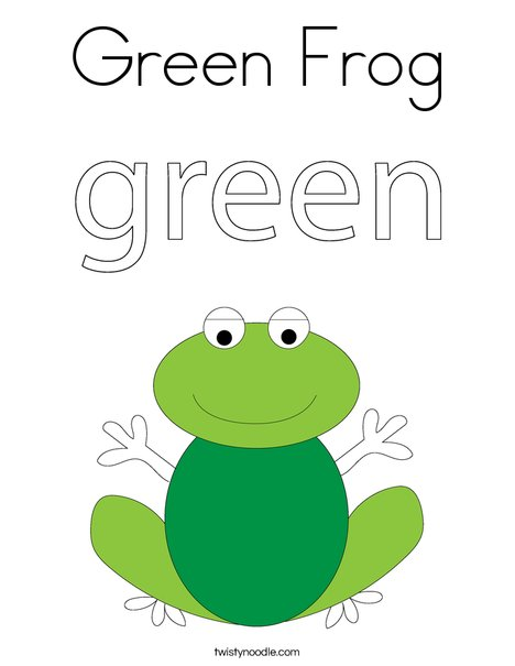 Green Frog Coloring Page Twisty Noodle