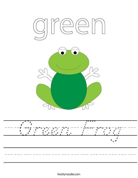 Green frog Worksheet
