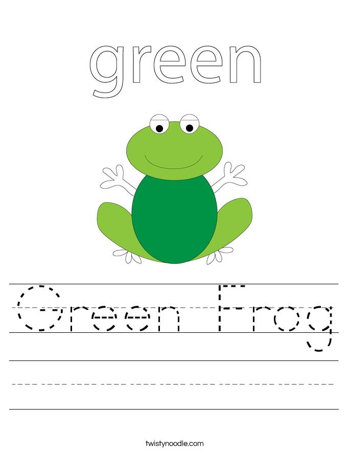 Worksheets Color Green Worksheets green worksheets twisty noodle frog handwriting sheet