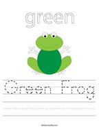 Green Frog Handwriting Sheet