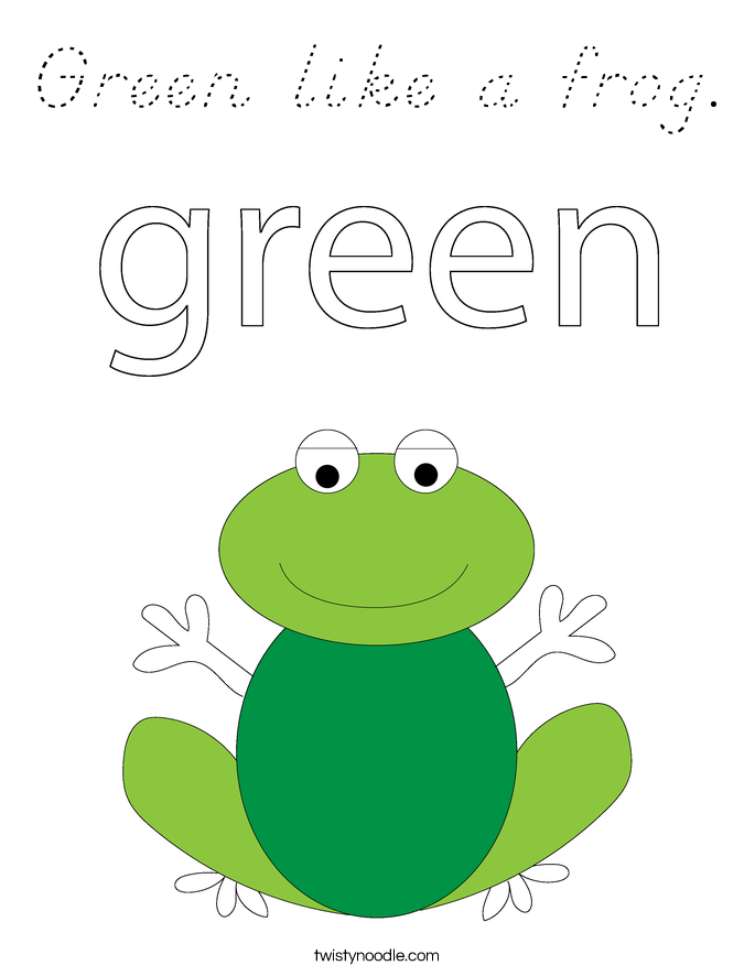 Green like a frog. Coloring Page