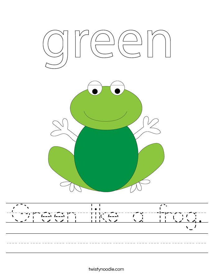 Green like a frog. Worksheet