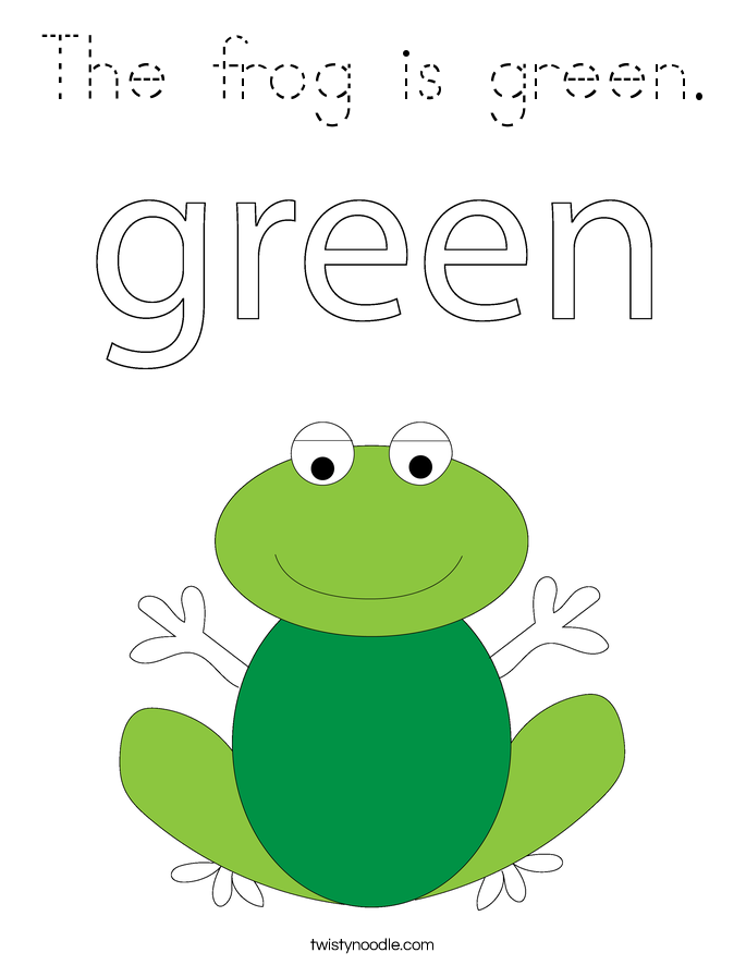 The frog is green. Coloring Page