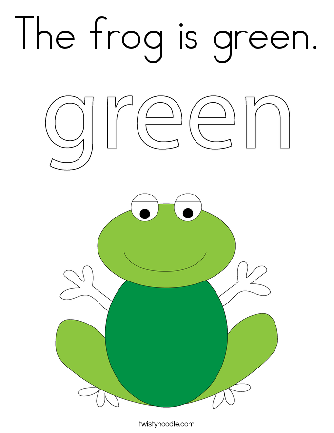 The Frog Is Green. Coloring Page.
