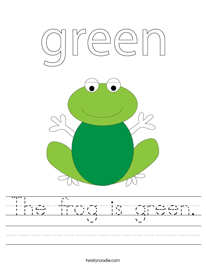 The frog is green. Worksheet