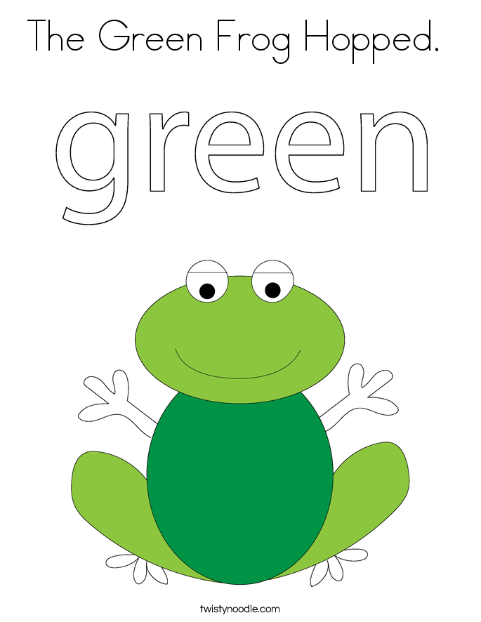 The Green Frog Hopped.  Coloring Page