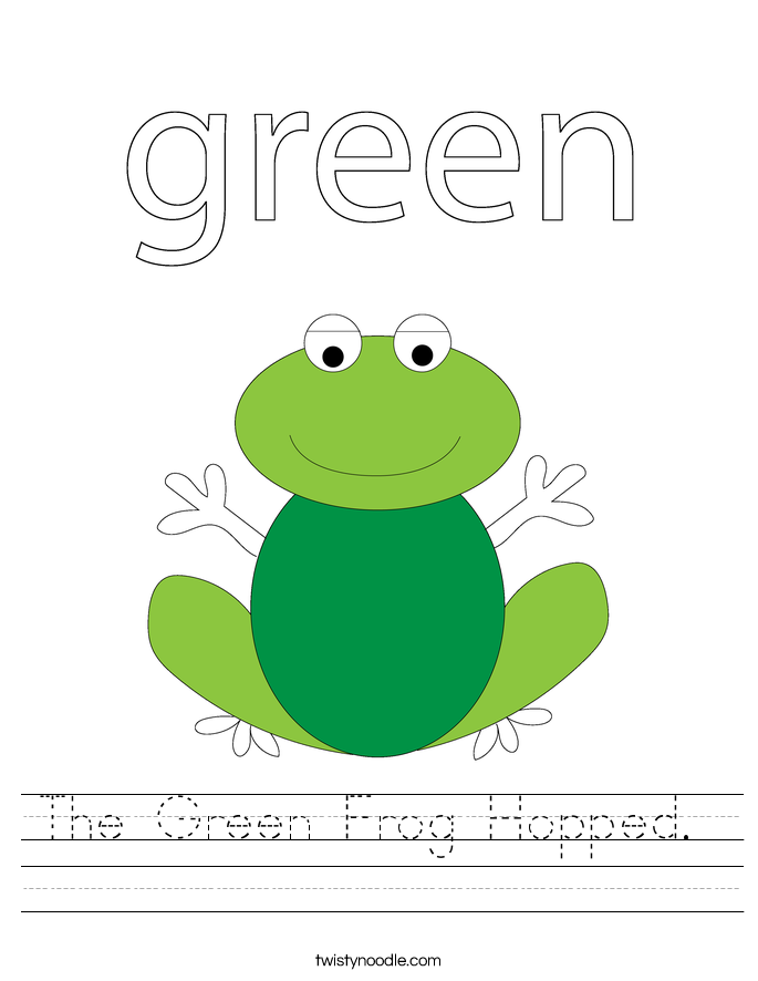 The Green Frog Hopped.  Worksheet