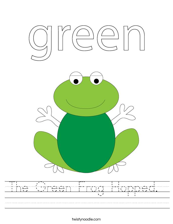 The Green Frog Hopped.  Worksheet