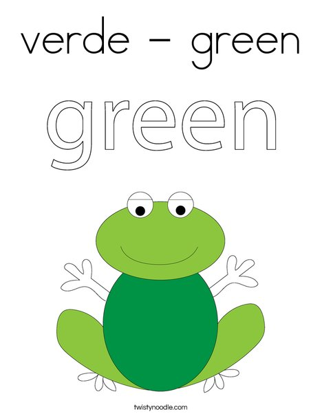 verde - green Coloring Page - Twisty Noodle