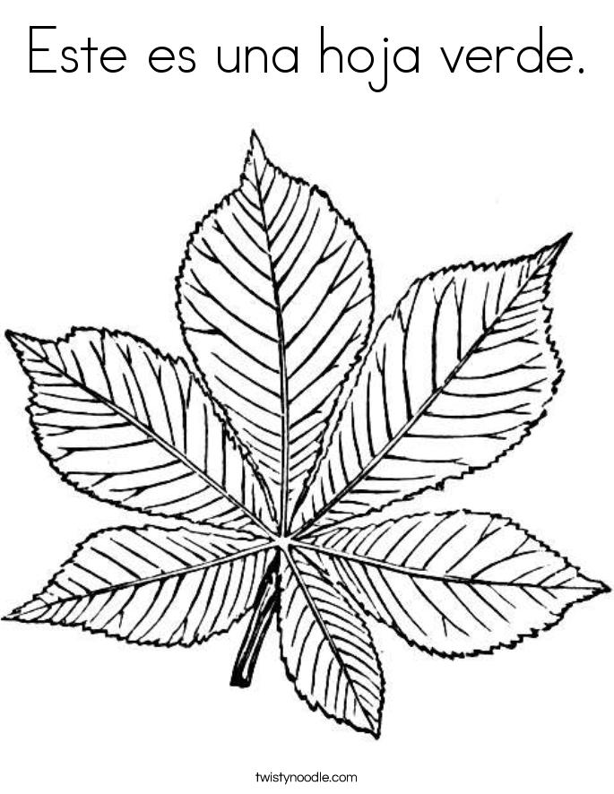 Este es una hoja verde. Coloring Page