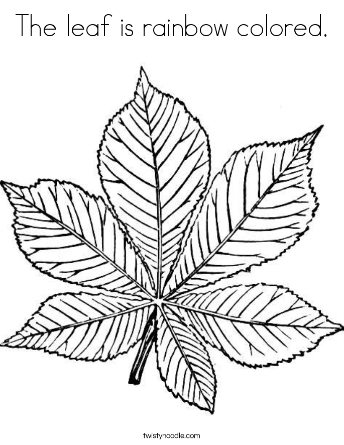 The leaf is rainbow colored. Coloring Page