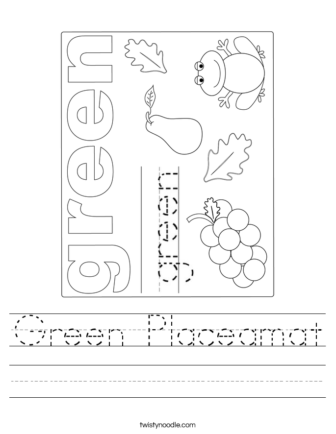 Green Placeamat Worksheet