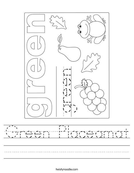 Green Placemat Worksheet