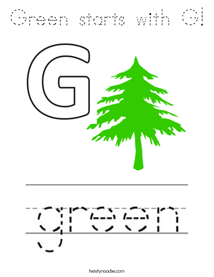 Green starts with G! Coloring Page