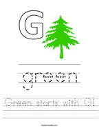 Green starts with G Handwriting Sheet