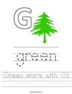Green starts with G Handwriting Sheet