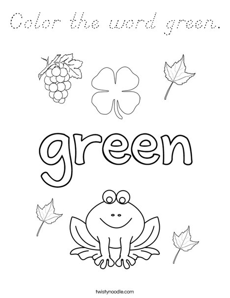 Color The Word Green Coloring Page D Nealian Twisty Noodle Green Coloring Pages