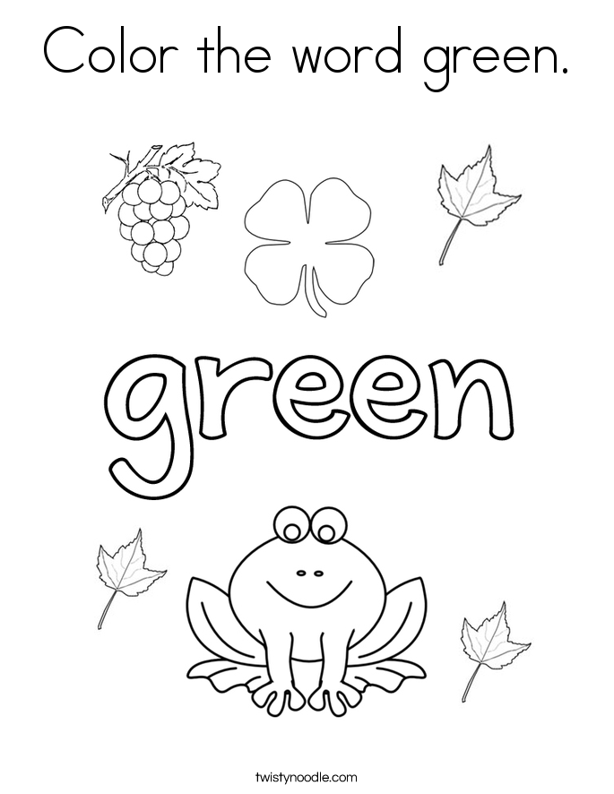 Color the word green coloring page twisty noodle for Color word coloring pages