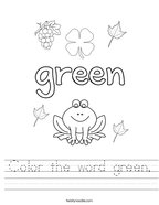 Color the word green Handwriting Sheet