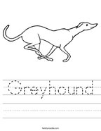 Greyhound Handwriting Sheet