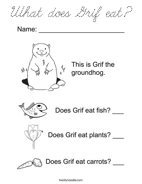Grif the Groundhog Coloring Page