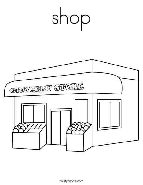 Shop coloring page twisty noodle for Grocery shopping coloring pages