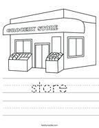 store Handwriting Sheet