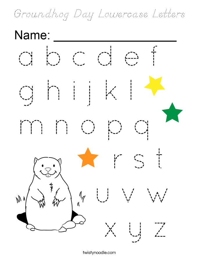 Groundhog Day Lowercase Letters Coloring Page