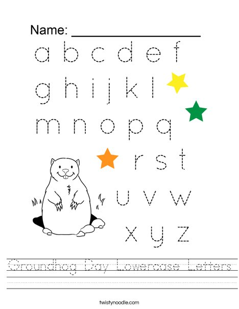 Groundhog Day Lowercase Letters Worksheet
