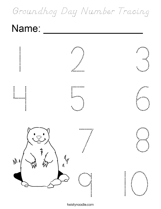 Groundhog Day Number Tracing Coloring Page