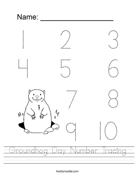 Groundhog Day Number Tracing Worksheet
