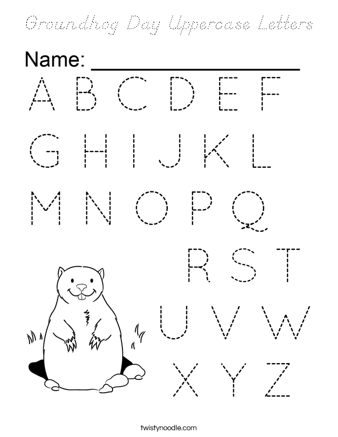 Groundhog Day Uppercase Letters Coloring Page