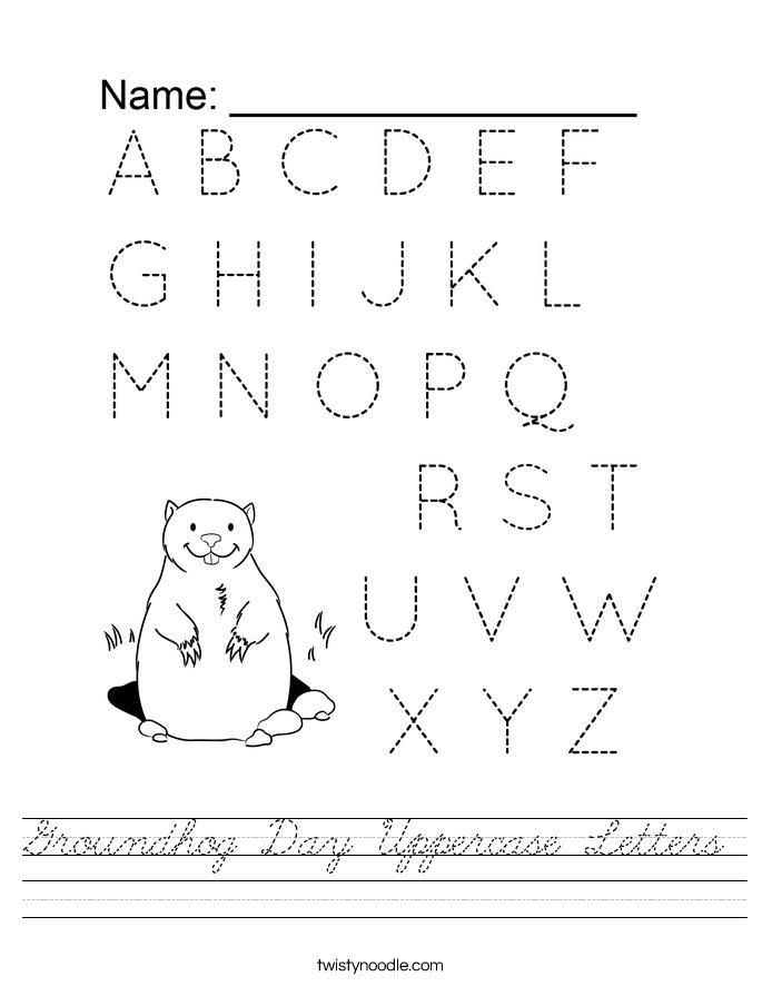 Groundhog Day Uppercase Letters Worksheet