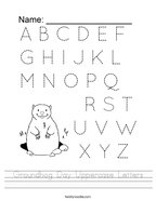 Groundhog Day Uppercase Letters Handwriting Sheet