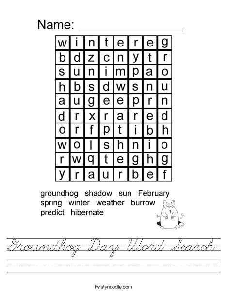 Groundhog Day Word Search Worksheet