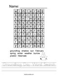 Groundhog Day Word Search Worksheet