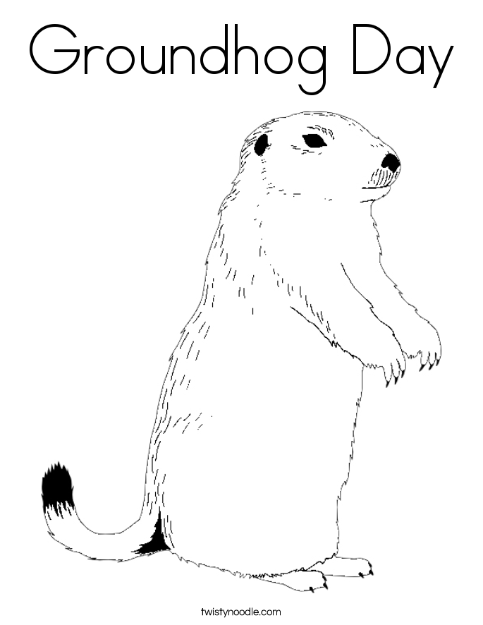 Groundhog Day Coloring Page Twisty Noodle Ground Hog Coloring Page