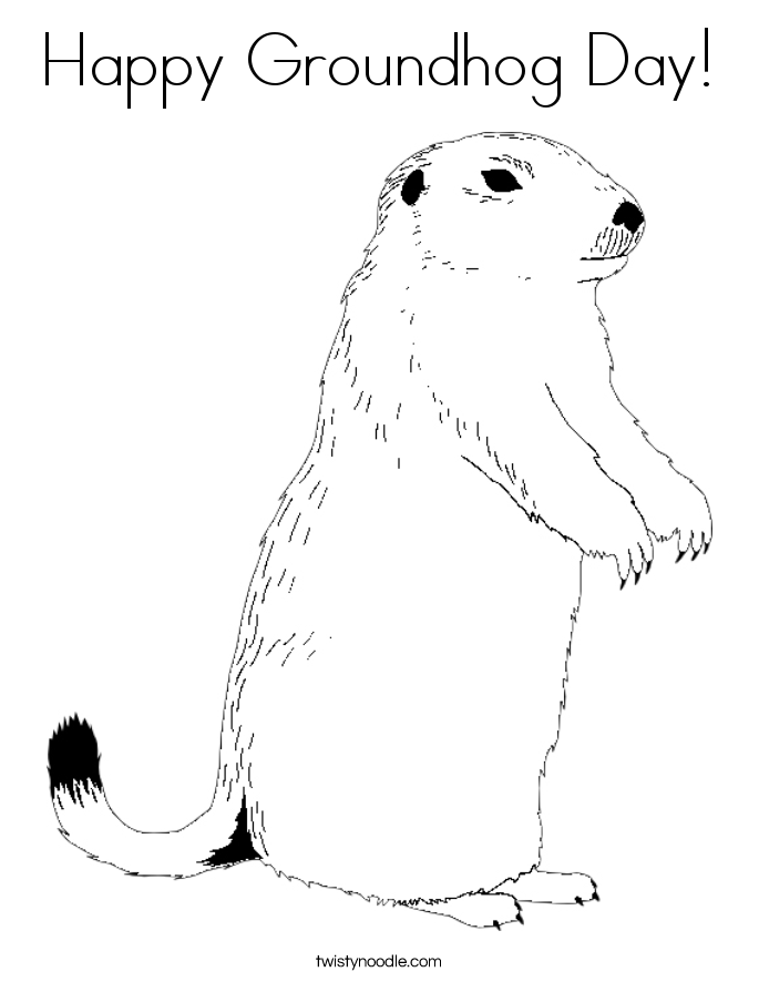 Groundhog Day Coloring Pages Pleasing Happy Groundhog Day Coloring Page  Twisty Noodle Inspiration Design