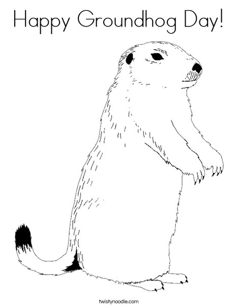 Happy Groundhog Day Coloring Page Twisty Noodle