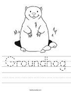Groundhog Handwriting Sheet
