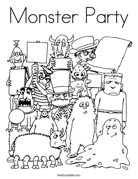 Monster Party Coloring Page - Twisty Noodle