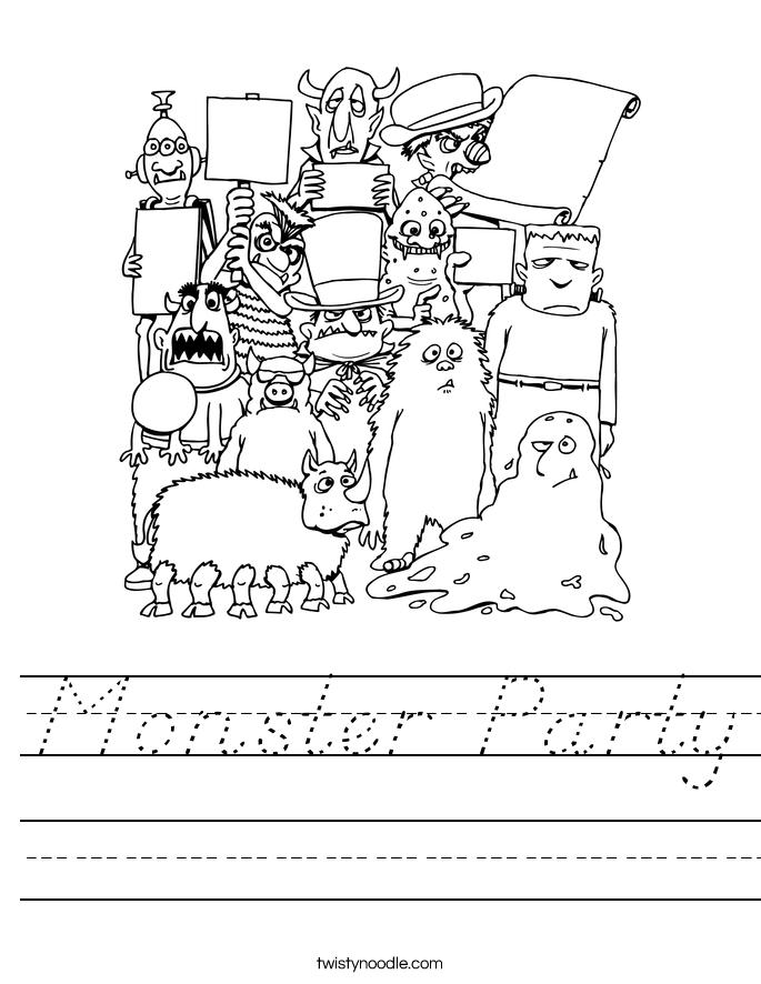 Monster Party Worksheet