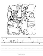 Monster Party Handwriting Sheet