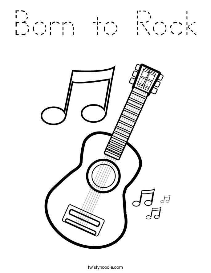Born to Rock Coloring Page