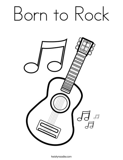 Born to Rock Coloring Page - Twisty Noodle