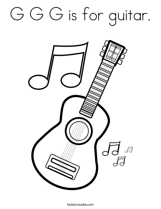 G G G is for guitar. Coloring Page