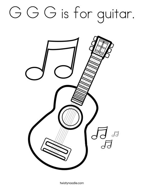 G G G is for guitar Coloring Page - Twisty Noodle
