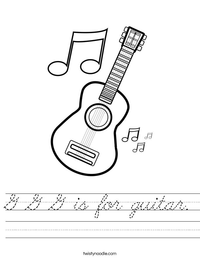 G G G is for guitar. Worksheet