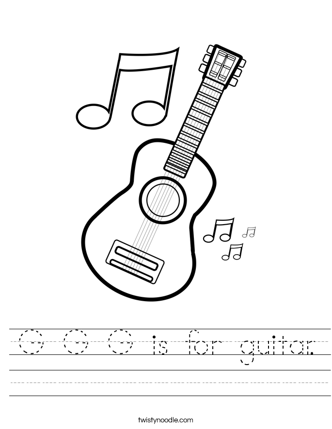 G G G is for guitar. Worksheet